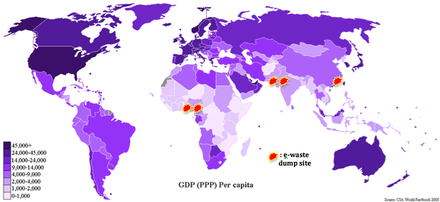 Map of GDP PPP per-capita with known e-waste dump sites added in 2013.