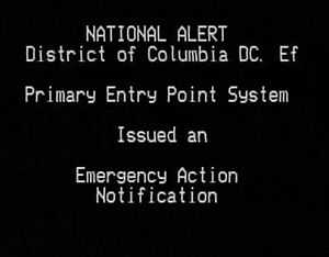Emergency Alert System - Screen announcing the nationwide test of the EAS, November 9, 2011, mainly generated by the EAS decoder at cable operator headends, listing that the test was generated within the District of Columbia rather than locally.