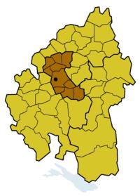 Lage der Prälatur Stuttgart innerhalb der Evang. Landeskirche in Württemberg