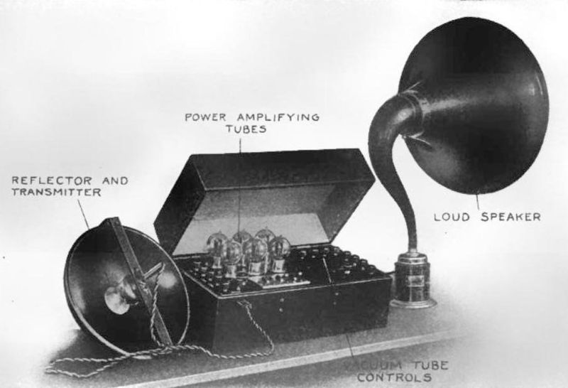 early public address system from around 1920 using a magnavox speaker the microphone had a. Black Bedroom Furniture Sets. Home Design Ideas