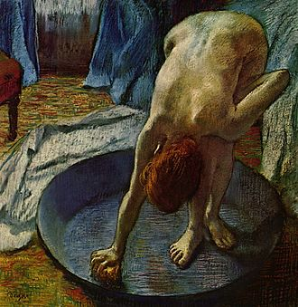 Figure painting - Woman at her Bath, by Edgar Degas, ca. 1885.