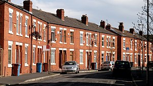 Terraced houses in the United Kingdom - A row of typical British terraced houses in Manchester
