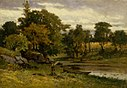 Edward Mitchell Bannister - Untitled (landscape, boat moored near stream, man walking in foreground) - 1983.95.112 - Smithsonian American Art Museum.jpg