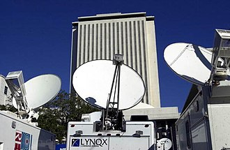 Bush v. Gore - Election 2000; Close-up view of satellite trucks parked by the Florida State Capitol during the 2000 Presidential election vote dispute