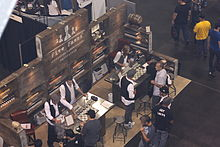A bird's-eye view of an e-cigarette convention in the US.