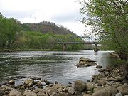 Old Bristol Highway steel bridge over Watauga River on the northern border of Elizabethton.