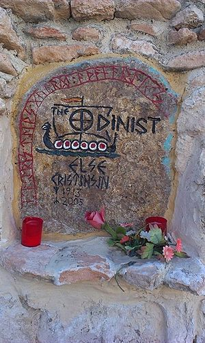 Odinist Community of Spain – Ásatrú - Else Christensen's memorial stone placed at the COE temple in Albacete.