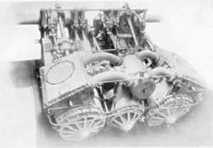 SS Empress Queen - A section of one of Empress Queen's diagonal three-crank compound engines.