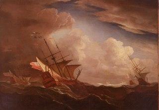 English Ships at Sea Beating to Windward in a Gale