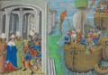 English ships arriving at Lisbon, and the audience of the English envoys - Chronique d' Angleterre (Volume III) (late 15th C), f.195r - BL Royal MS 14 E IV.png