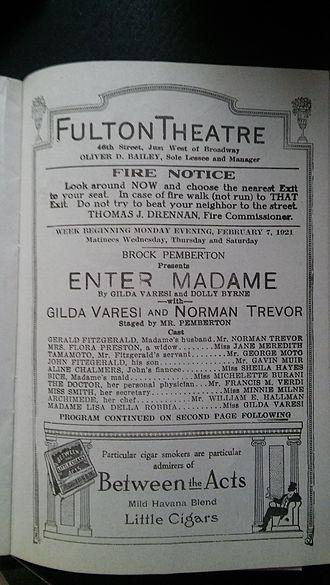 Enter Madame (play) - Image: Enter Madame Fulton Theatre 1921
