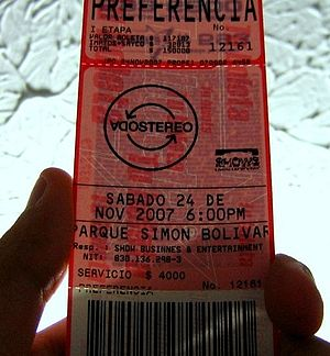 Soda Stereo - «Me verás Volver». Ticket for the Bogotá (Colombia) show. Soda Stereo reunited one million fans during their 2007 reunion tour.