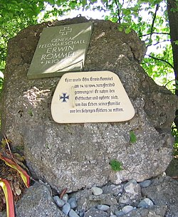 A memorial at the site of Field Marshall Erwin Rommel's suicide outside of the town of Herrlingen, Baden-Württemberg, Germany (west of Ulm).