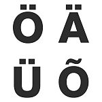The four distinct characters in the Estonian alphabet. Ö, Ä, Ü, and Õ