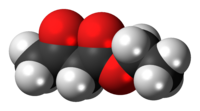 Space-filling model of the ethyl acetoacetate molecule