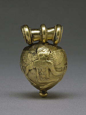 Etruscan jewelry - Etruscan Bulla with the Greek mythical figures Daedalus and Icarus. Walters Art Museum, Baltimore.