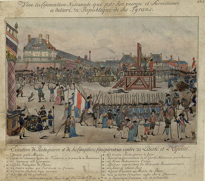 The execution of Robespierre. The beheaded man is not Robespierre, but Couthon; the body of La Bas is shown lying on the ground; Robespierre {#10} is shown sitting on the cart closest to the scaffold holding a handkerchief to his mouth.