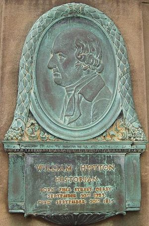 William Hutton (historian) - Bas relief on Derby's Exeter Bridge.