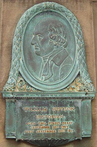 William Hutton (historian) - Bas relief on Derby's Exeter Bridge.