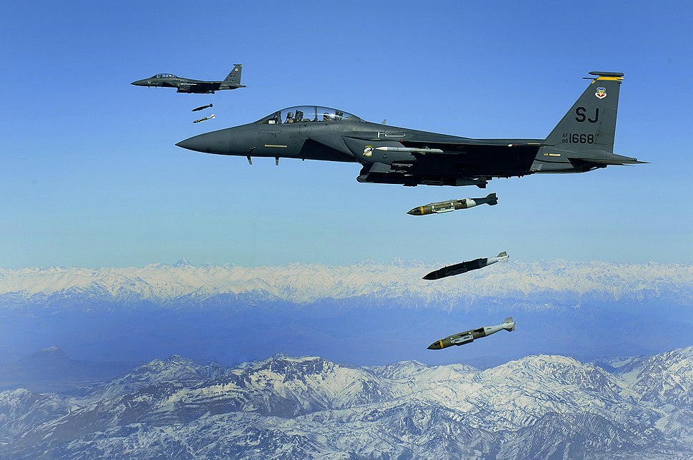 F-15E drops 2,000-pound munitions Afghanistan 2009