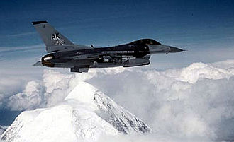18th Aggressor Squadron - 18th Fighter Squadron F-16 flying over the Alaska Range