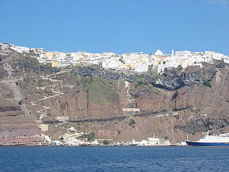 Fira - View of Fira from the sea