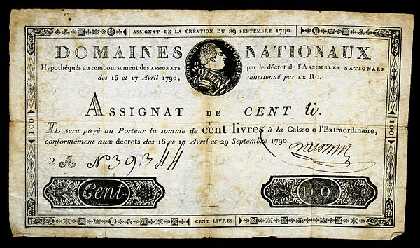 Early French banknote issue by Domaines Nationaux - Assignat for 100 livres, 1790 Issue FRA-A39-Domaines Nationaux-100 livres (1790).jpg