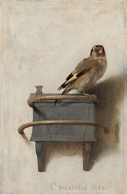 Painting of a Goldfinch on a wall mounted perch.