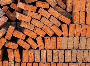 Bricks of red clay
