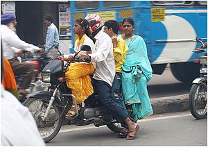 Traffic collisions in India - Unsafe travel on motorcycles in Hyderabad.