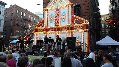 The main stage at the Feast of St. Anthony.
