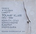 Fejér György utca 6, relief-plaque to Klári Tolnay (2001), 2019 Belváros-Lipótváros.jpg