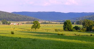 Fentress County, Tennessee - Valley of the Three Forks near Pall Mall, with the Cumberland Plateau dominating the horizon
