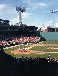"Picture of Fenway Park. Part of the ""Green Monster"" can be seen on the right side of this picture."