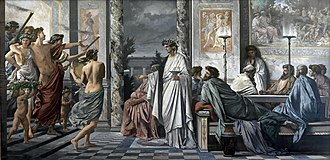 Agathon - This painting by Anselm Feuerbach re-imagines a scene from Plato's Symposium, in which the tragedian Agathon welcomes the drunken Alcibiades into his home. 1869.