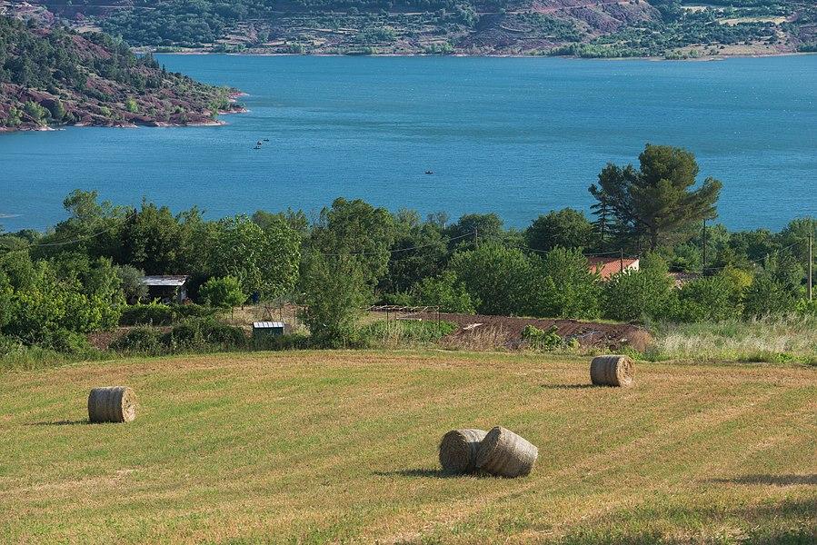 "A field and the ""Lac du Salagou"". Liausson. Hérault, France."