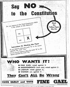 Fine Gael - A poster from the party in 1937 advocating that people should vote against the proposed new constitution