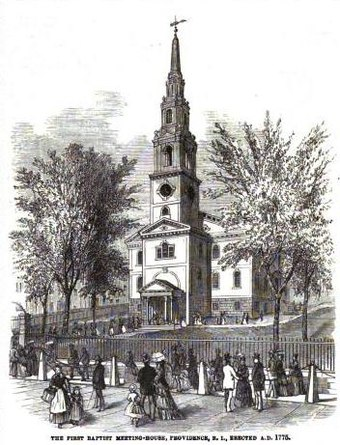 The congregation founded by Roger Williams in 1638 built this church in 1776 First Baptist Church in America in RI.jpg