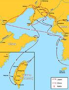 First Chinese Japanese war map of battles