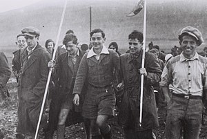 1934 in Mandatory Palestine - The first German Youth Aliyah group walking towards Kibbutz Ein Harod, 1934