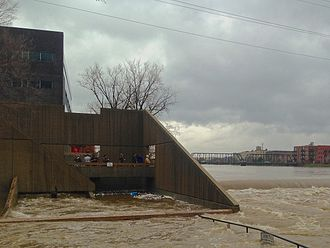 2013 Grand Rapids flood - Grand Rapids fish ladder during the 2013 flood.