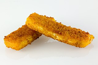 Fish finger Dish consisting of breaded and fried fish