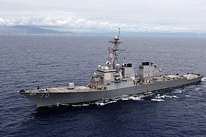 The USS Hopper (DDG-70), underway
