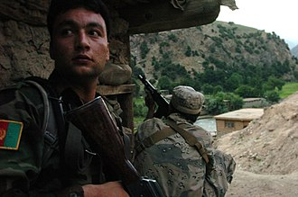 Barg-i Matal District - Afghan soldiers fighting in Bargi Matal in 2009