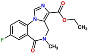 Chemical structure of the benzodiazepine flumazenil which contains a imidazole ring fused to positions one and two, a methyl group at position four, an exocylic carbonyl oxygen atom a position five, and a fluorine atom at position seven.