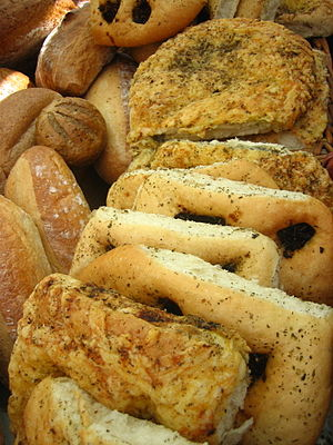 A variety of breads including Focaccia.
