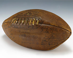 Ball (gridiron football) - A leather football used in a 1932 college football game