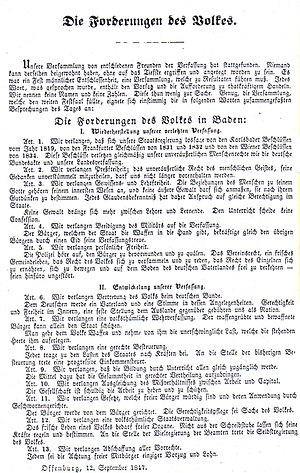 "Baden Revolution - September 1847 flyer with the ""demands of the people"", which formulated the goals of the radical democrats at the Offenburg Assembly"