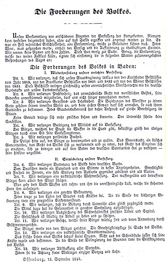 """Baden Revolution - September 1847 flyer with the """"demands of the people"""", which formulated the goals of the radical democrats at the Offenburg Assembly"""