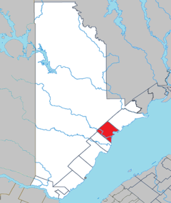 Location within La Haute-Côte-Nord RCM.